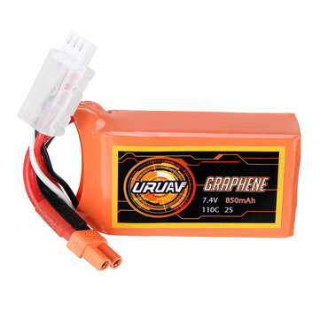 Coupone for URUAV GRAPHENE 2S 7.4V 850mAh 110C Lipo Battery XT30 Plug for FPV RC Racing Drone