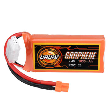 Coupone for URUAV GRAPHENE 2S 7.4V 1050mAh 120C Lipo Battery XT30 Plug for FPV RC Racing Drone