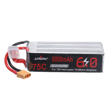 Coupone for URUAV 22.2V 6000mAh 75C 6S Lipo Battery XT90 Plug for 700 Helicopter 70-90mm Airplane