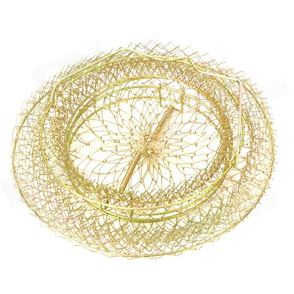 Foldable Golden Steel Wire Fishing Pot Trap Net Crab Ca