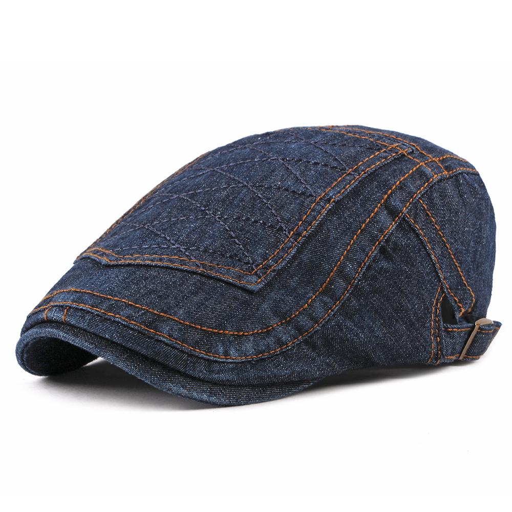 Men Women Casual Washed Denim Peaked Cap Beret Hat