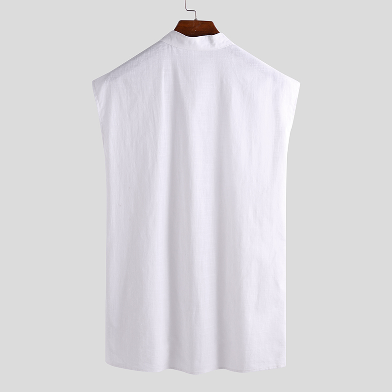 Men Solid Color Sleeveless Stand Collar Loose Tank Tops