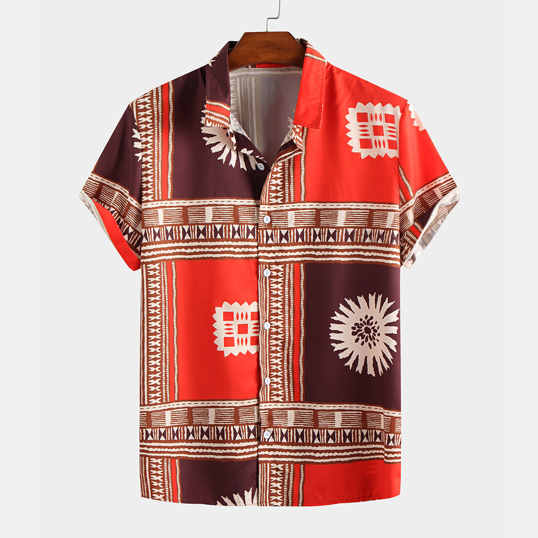 Mens Ethnic Color Block Pattern Printed Turn Down Colla
