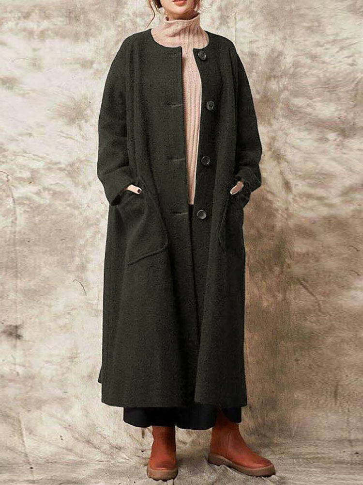 Casual Women Solid Color Button Long Coats with Pockets