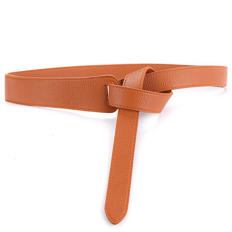117CM Women PU Leather Girdle Ladies Dress Knot Waist Binding Belt