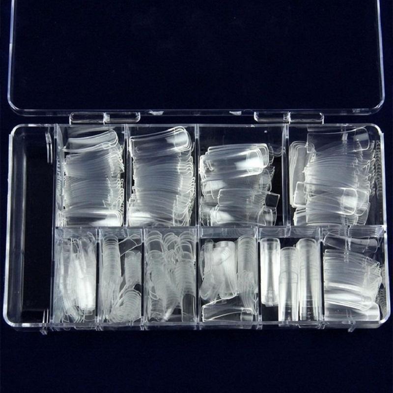 100Pcs 3D Manicure Transparent Nail Tips
