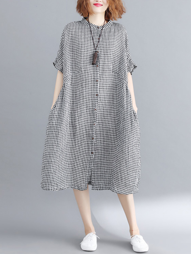 Women Casual Short Sleeve Button Plaid Shirt Dress