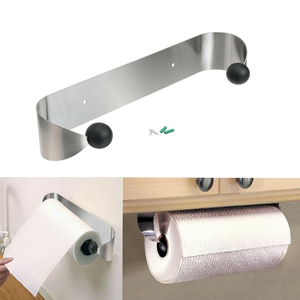 Stainless Steel Paper Towel Holder Wall Mount Roll Paper Under Cabinet Organizer Hanger Kitchen Home
