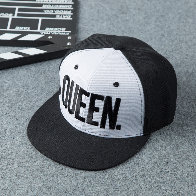 Unisex Versatile Fashion Hat Baseball Cap Embroidery Letter KING Queen Couple Flat Hat