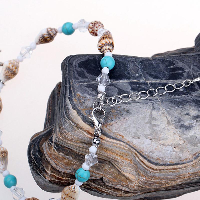Bohemian Starfish Anklet Natural Stone Beaded Chain Bar
