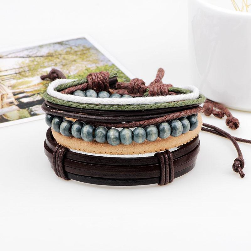 Unisex Multicolor Chain Vintage Leather Multilayer Brac