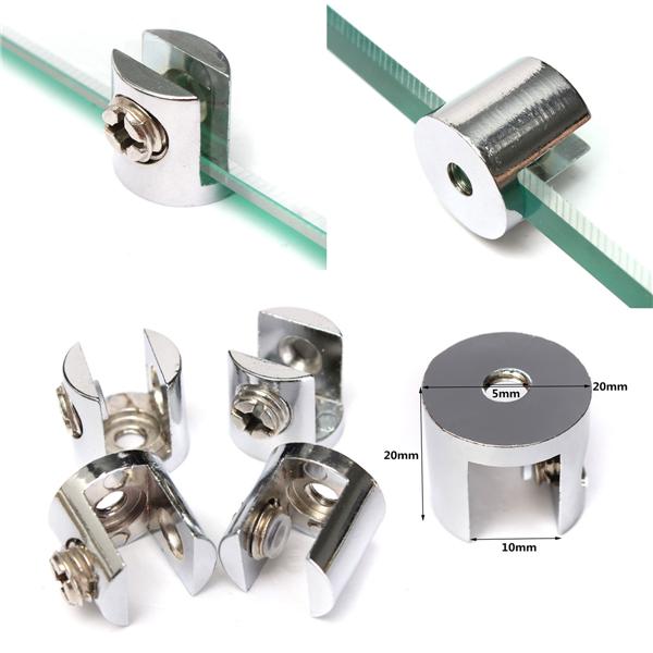 4pcs Zinc Alloy Small Glass Shelf Strong Support Clamps Brackets 6-8mm