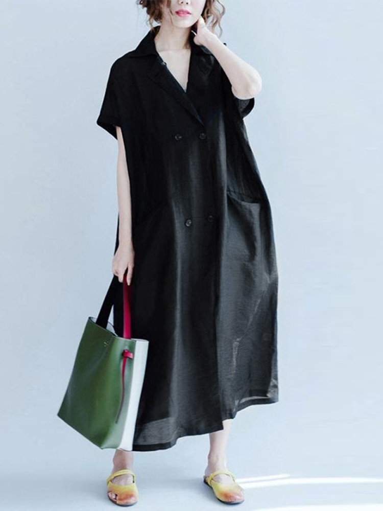 Women Casual Short Sleeve Turn Down Collar Long Shirt D