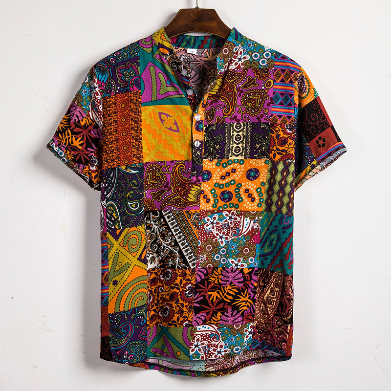 Mens Ethnic Style Patchwork Floral Printing Cotton Casu