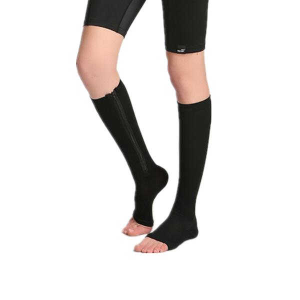 1 Pair Zip Sox Compression Socks Zipper Leg Support Knee Stockings Open Toe