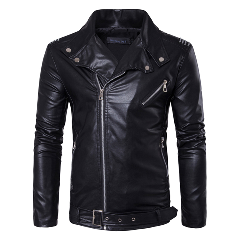 Men Zipper Buckle Turn-down Collar Leather Jacket