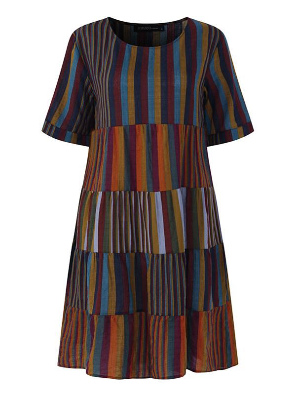 Women Short Sleeve Striped Patchwork Cotton Shirt Dress