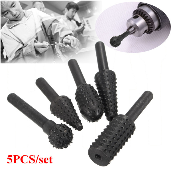 5pcs 1/4 Inch Shank HSS Rotary Burr Set Woodworking Too