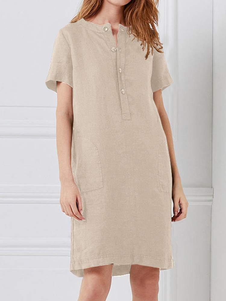 100% Cotton Women Loose Linen Round Neck Short Sleeve Button Dress with Pocket