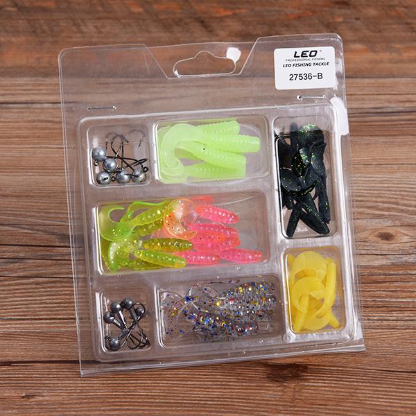 LEO 52Pcs Fishing Lures Lead Hooks Soft Bait Set Bass L