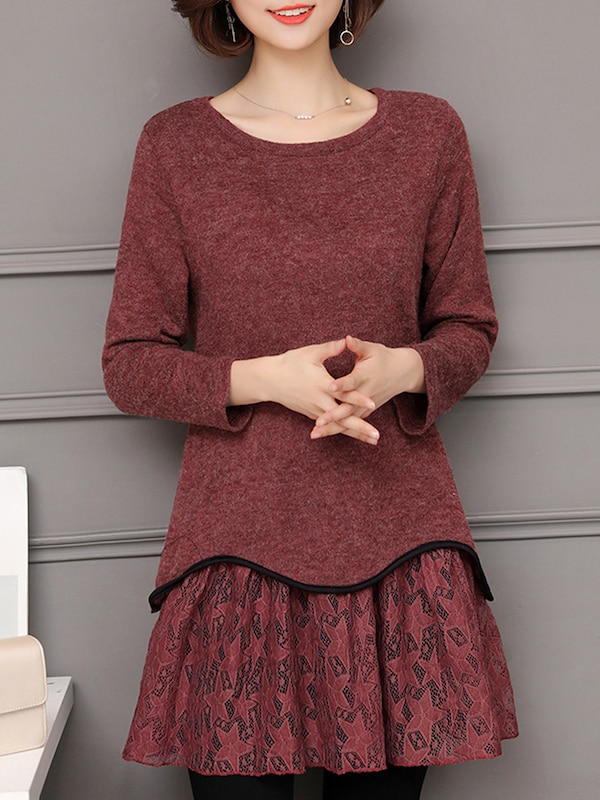 Women's Casual Patchwork T-Shirts Layer Look Lace Solid O Neck Tops