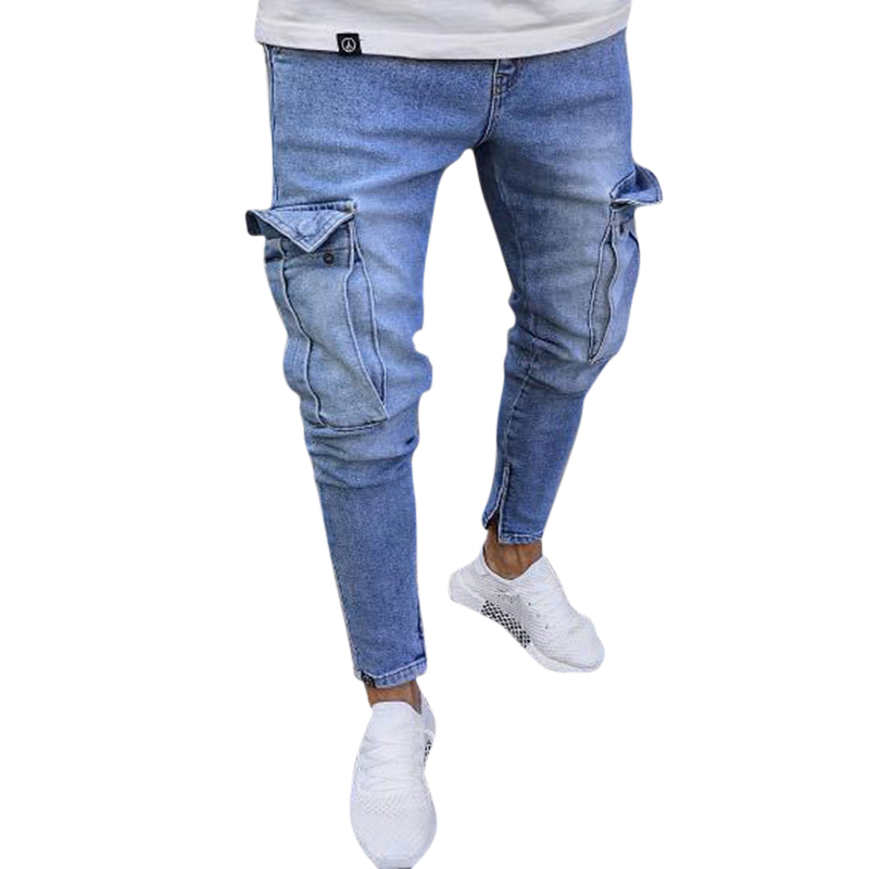 Mens Cotton Multi Pockets Casual Ripped Jeans Denim Pan
