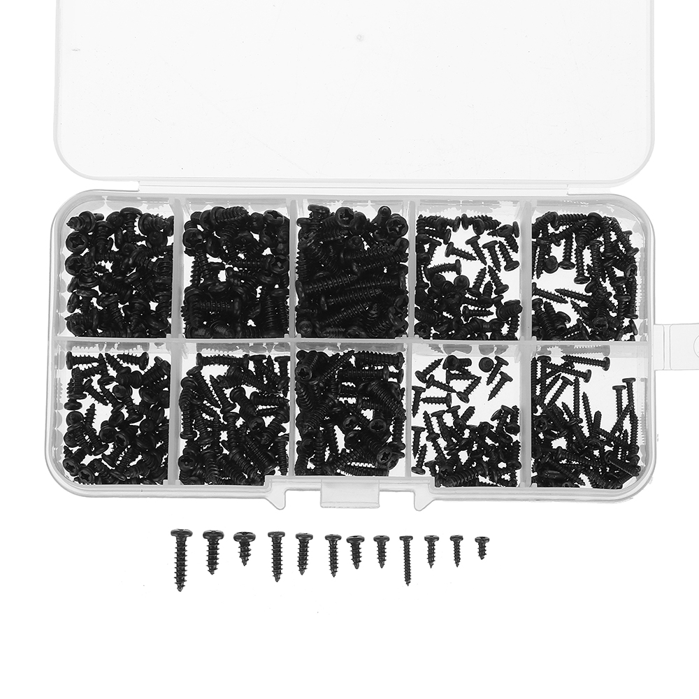 Suleve MXCP4 500Pcs P hilips Button Head Screw Carbon Steel Mini Electronic Notebook Laptop Repair Screw Self-Tapping Bolt Assortment Kit