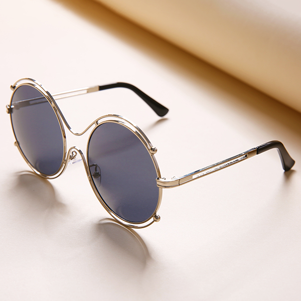 Women Mens Unisex Vintage Anti-UV Double Ring Sunglasse