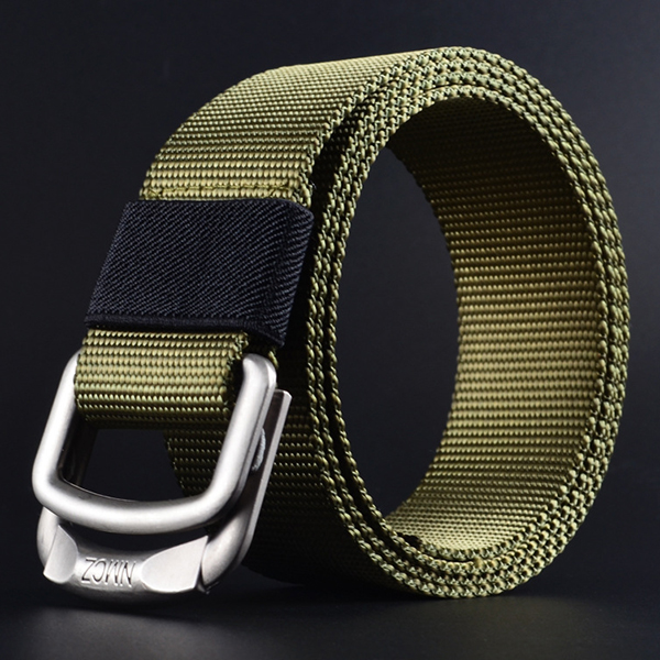 Men Double Ring Buckle Durable Nylon Belt Outdoor Casua
