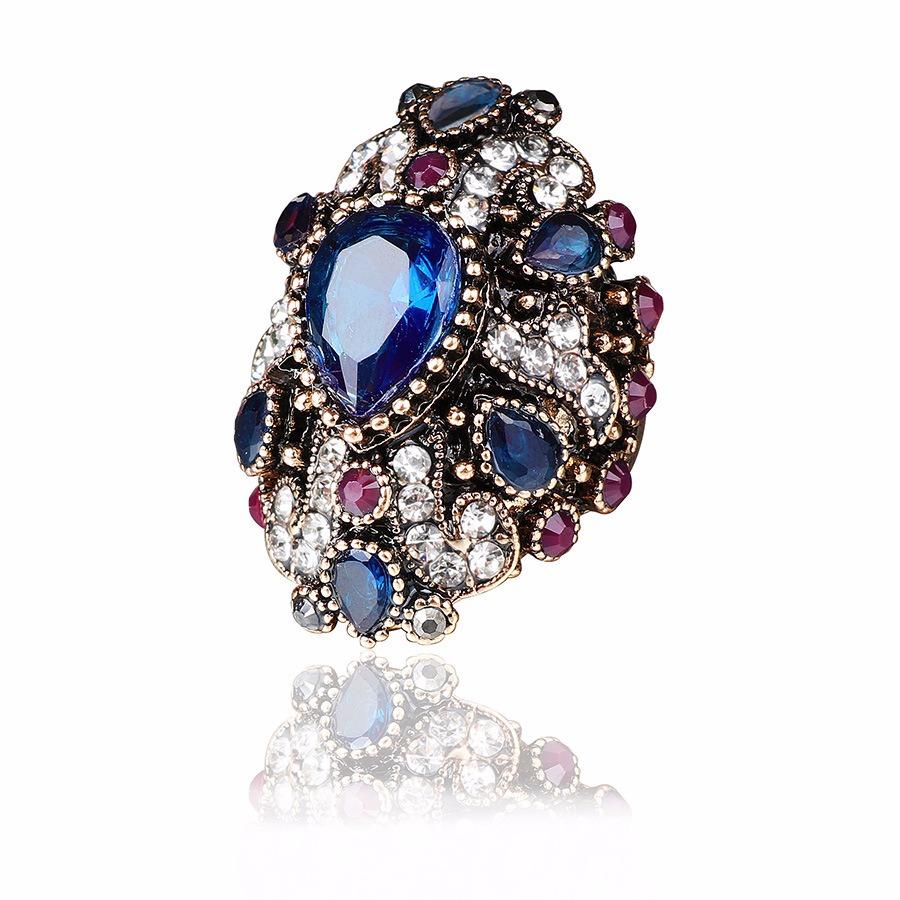 Luxury Finger Ring Colorful Water Drop Crystal Geometri