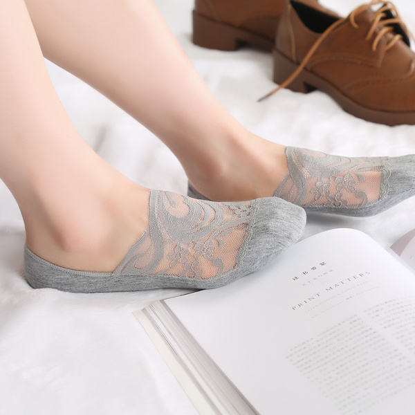 Fashion Women Lace Antiskid Invisible Boat Socks Summer Breathable Thin Low Cut Hosiery