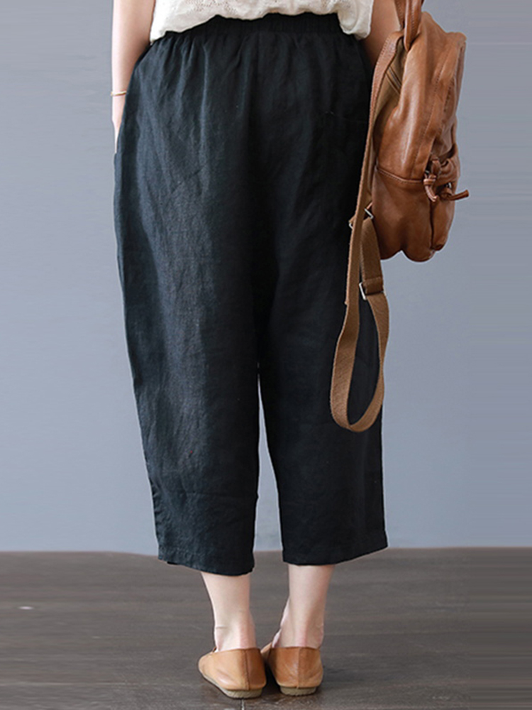 Plus Size Women Cotton Loose Harem Pants with Pockets