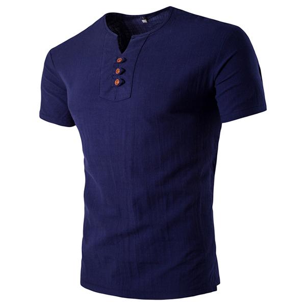 Summer Mens Casual V-neck Button Cotton Linen T-shirt Short Sleeved Tops Tees