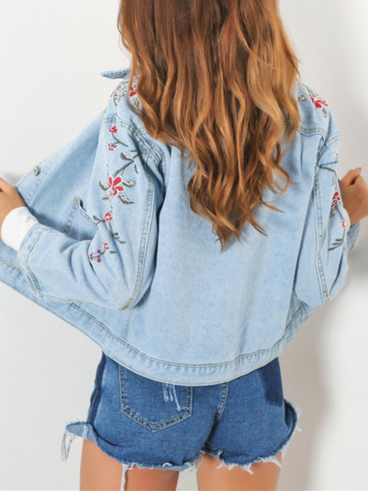 Women's Classic Flower Denim Coats Long Sleeve Embroide