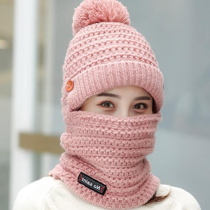Women Winter Warm Plush Thicken Knit Beanie Hat with Sc