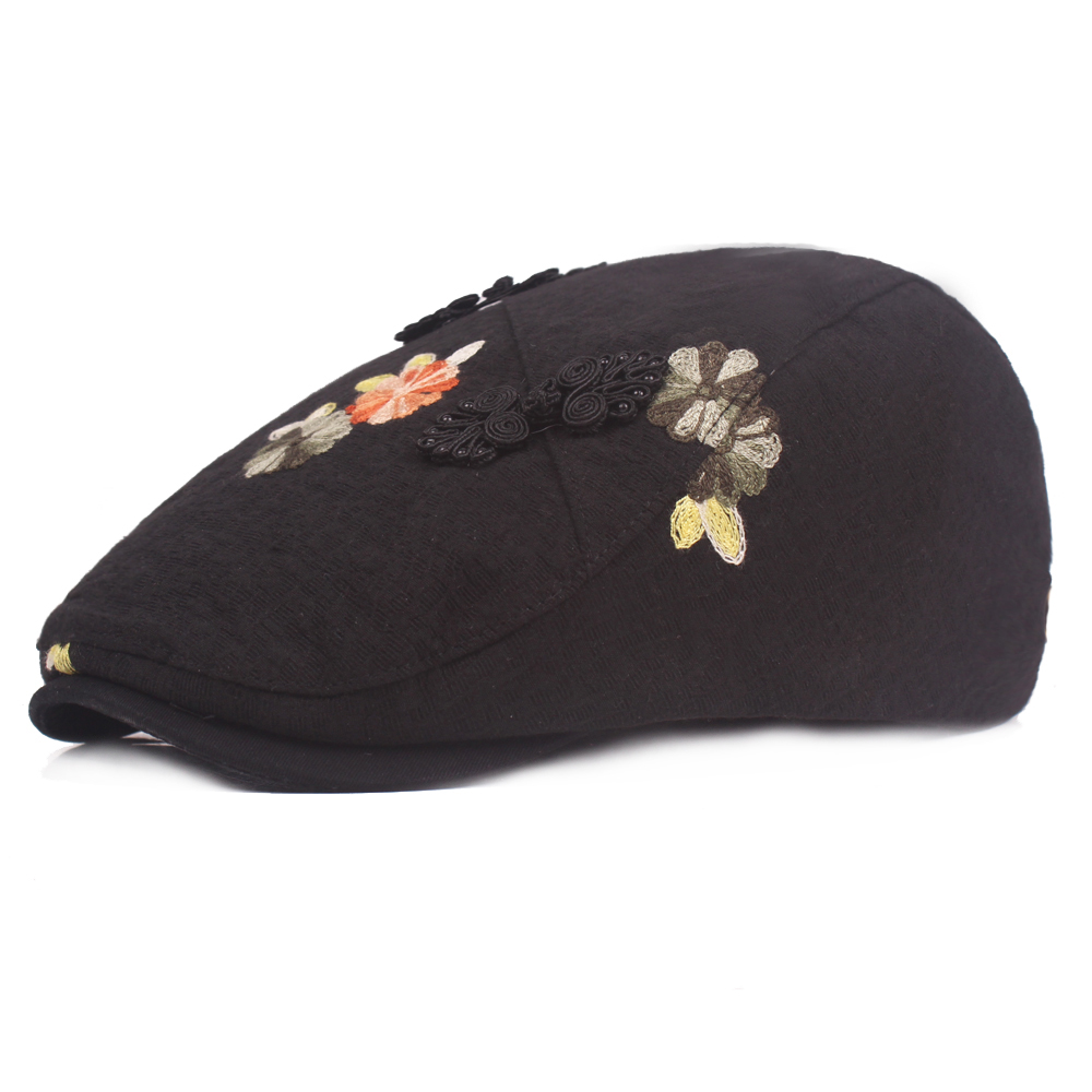 Women's Cotton Embroidered Beret Caps Cool Outdoor Viso