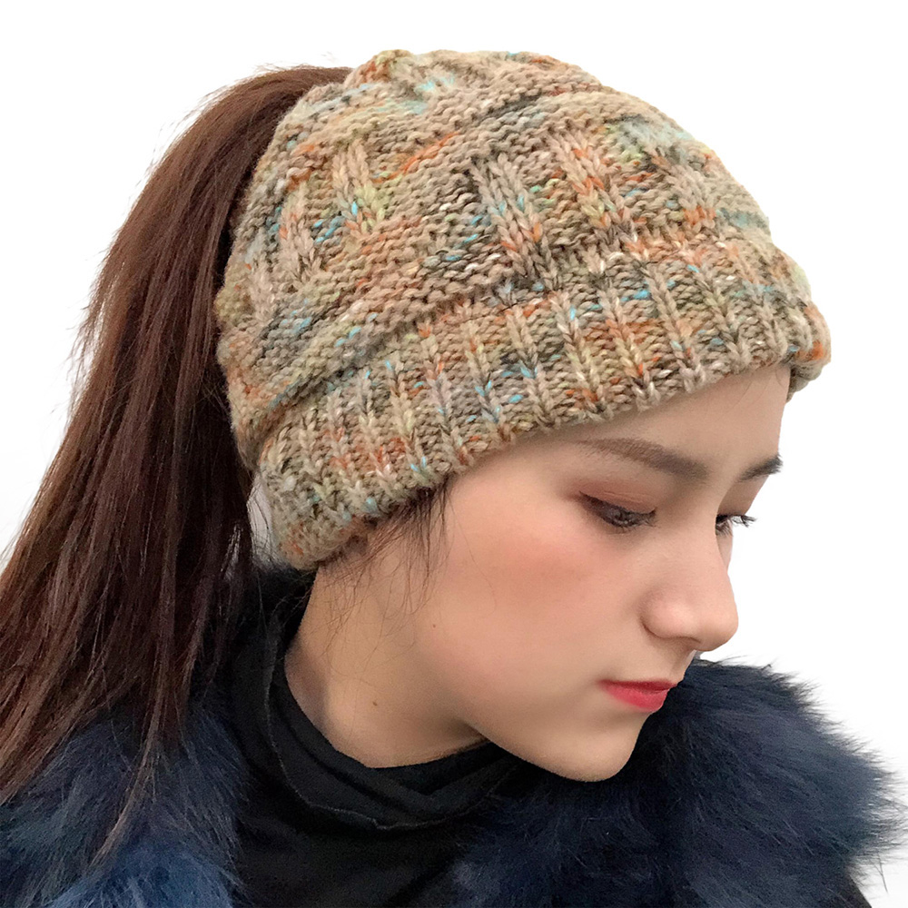 Female Warm Knitted Hat Striped Colorful Ponytail Headband Woolen Cap