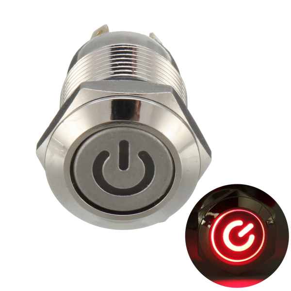 Excellway 12V 4 Pin Led Metal Push Button Switch Momentary Power Switch Waterproof