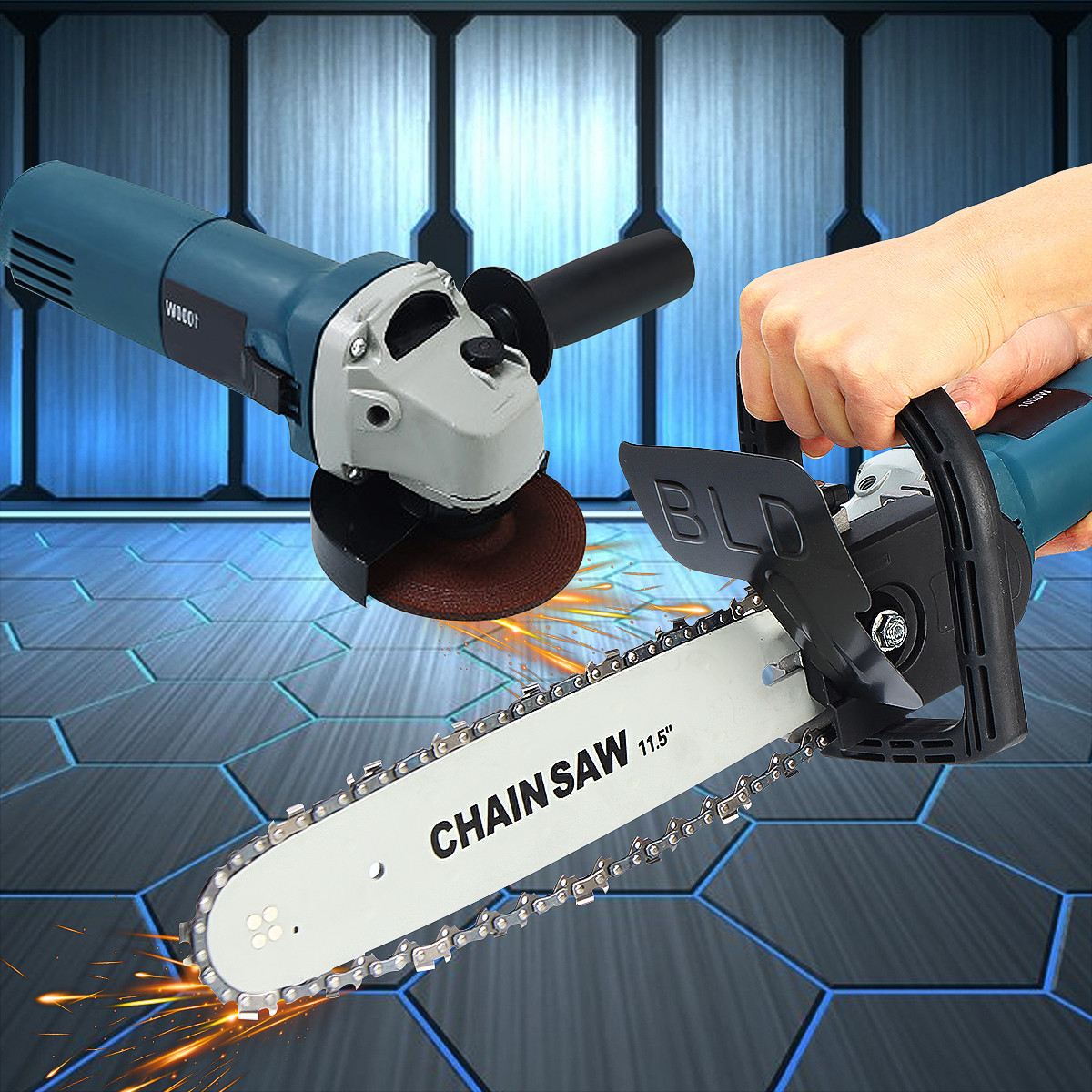 11000r/min 220V 1000W Electric Angle Grinder Chainsaw Bracket DIY Cutting Tools