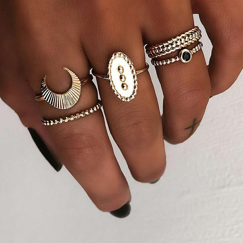 5 Pcs Bohemian Finger Rings Set Moon Oval Shield Ring F