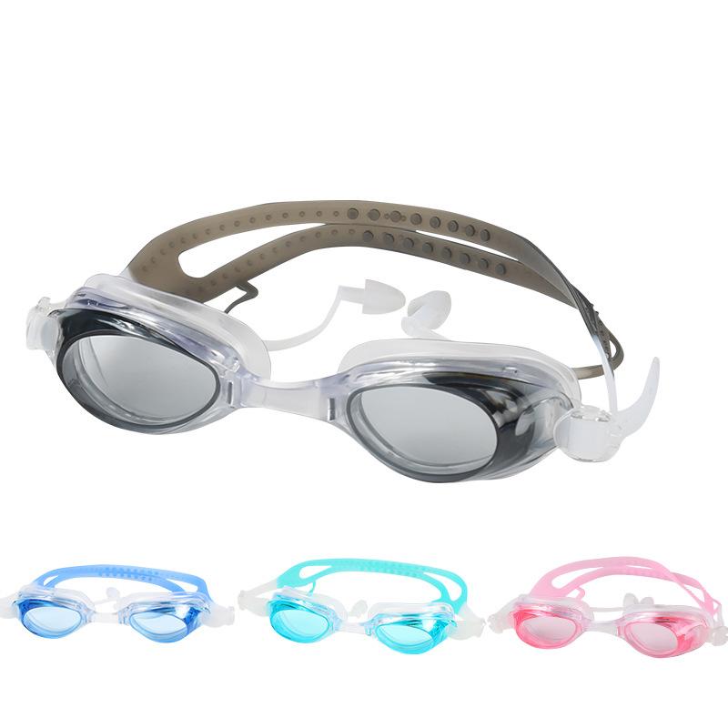 HD Waterproof Anti-fog Swimming Goggles with Earplug PC Anti-UV Eyewear Glasses with Case