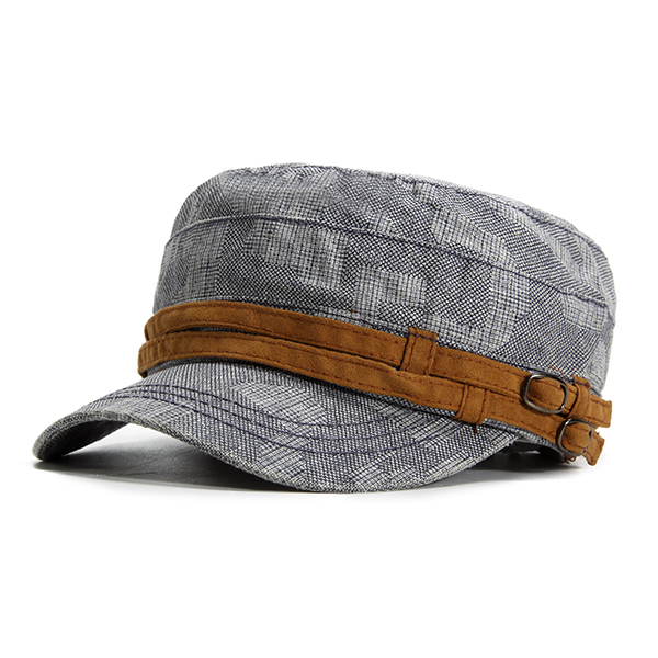 Summer Casual Breathable Cotton Flat Top Hat For Men Mi