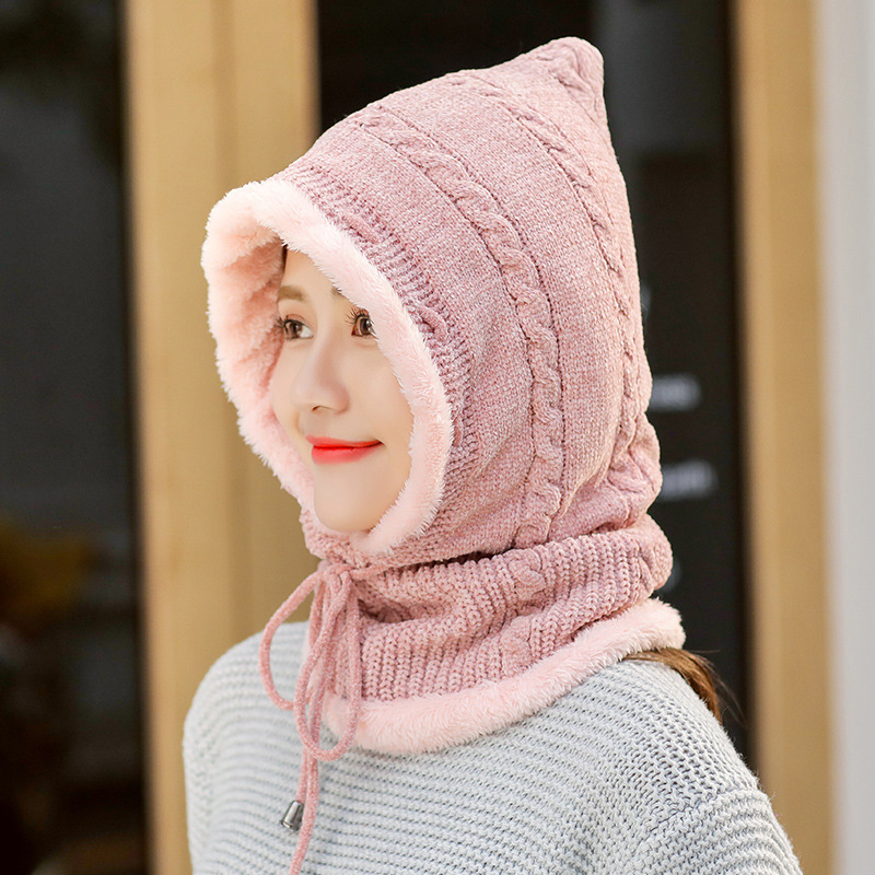 Winter Thicken Plus Velvet Cycling Siamese Ski Knit Hat Scarf Windproof Earmuffs Beanie
