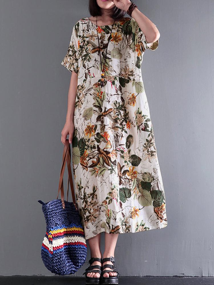Hole TideWomens National Cotton /& Linen V-Neck Maxi Long Floral Dress