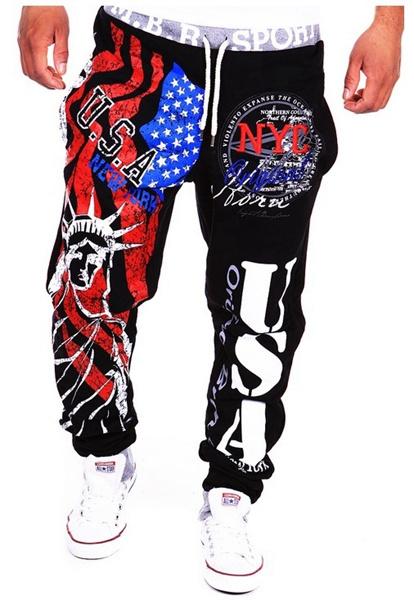 Men's Lace-Up Fashion Sports Jogger Pants Statue of Liberty American Flag Printing Hip-hop Sweatpants