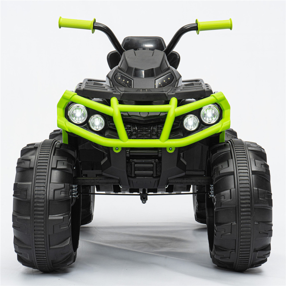 Kingso 12V Kids Ride-On Electric ATV 4-Wheeler Quad Car Toy w/ Bluetooth Audio 3.7mph Max Speed Treaded Tires LED Headlights Radio 3