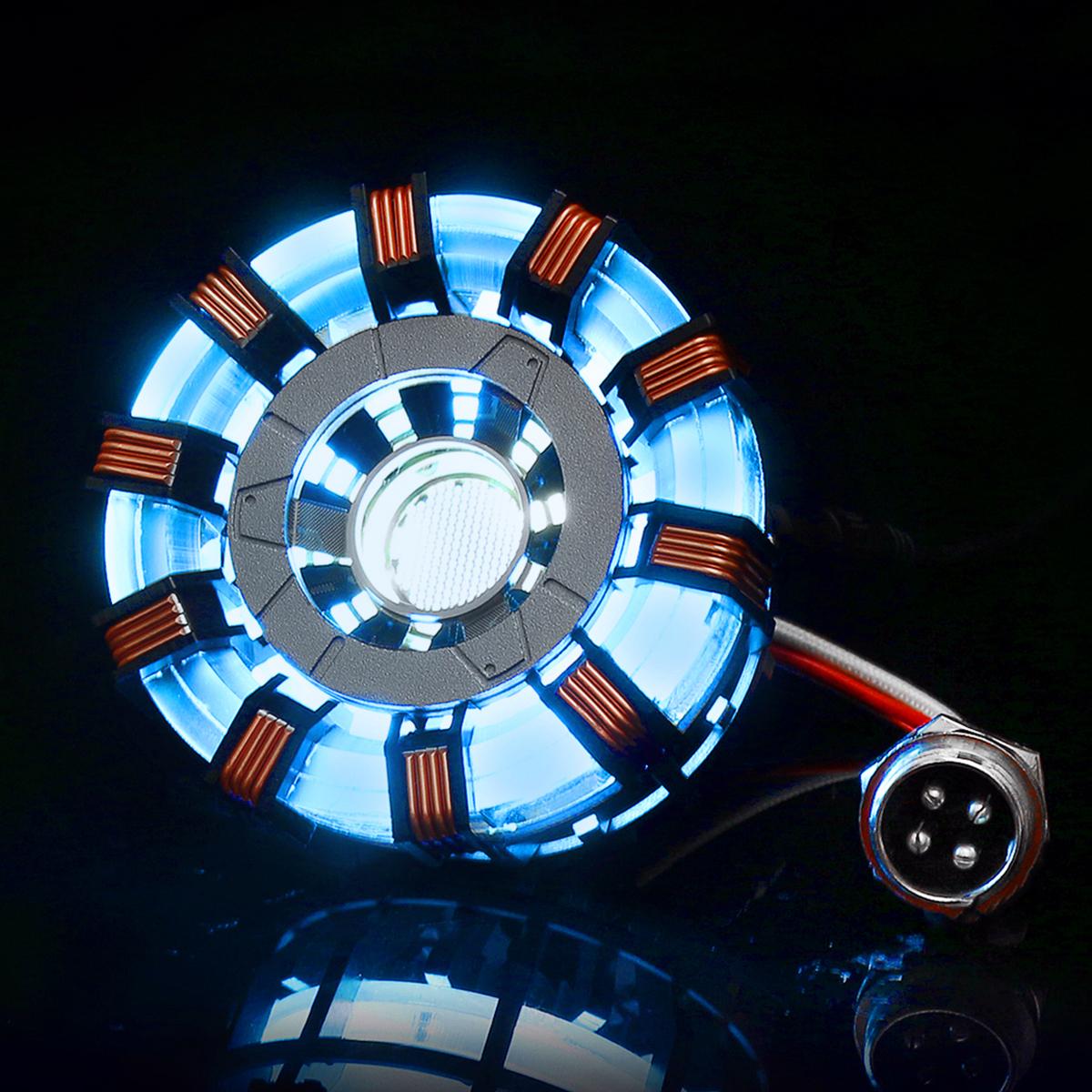 MK2 Tony DIY Arc Reactor Lamp Stainless Steel Kit Illuminant LED Flash Light Set