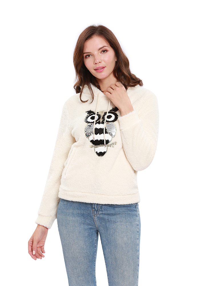 Casual Women Fleece Solid Color Long Sleeve Sweatshirt