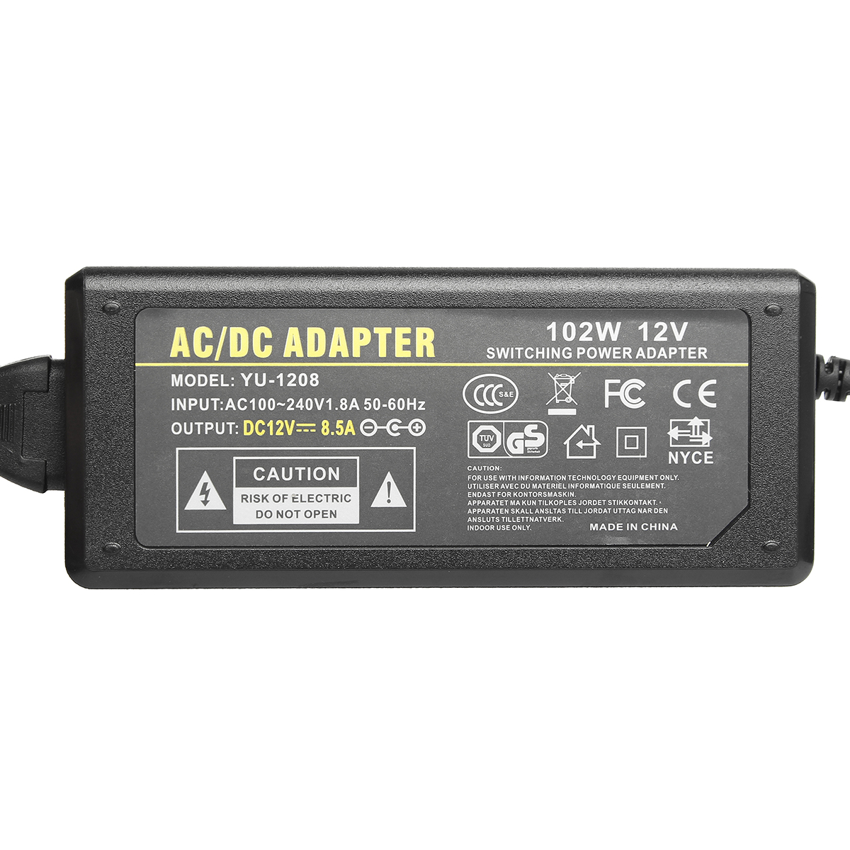 100-240V AC to 12V DC 8.5A Power Supply Adapter C