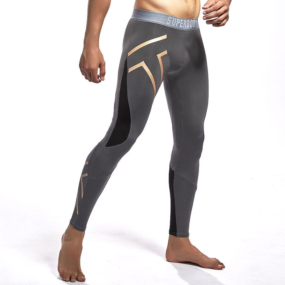 SUPERBODY Mens Sport Fitness Reflective Printing Tight